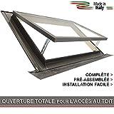 Lucarne / Fenêtre pour toit - ligne CLASSIC VASISTAS (Puits de lumière - Fenêtre de sortie) Raccord inclus / Double Vitrage / Ouverture genre Velux (100x64 Largeur x Hauteur)