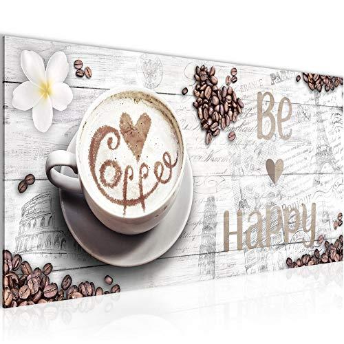 Bilder Küche Kaffee Wandbild 100 x 40 cm Vlies - Leinwand Bild XXL Format Wandbilder Wohnzimmer Wohnung Deko Kunstdrucke Weiß 1 Teilig - MADE IN GERMANY - Fertig zum Aufhängen 020712b -