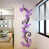 Purple : IGEMY DIY 3D Acrylic Crystal Wall Stickers Living Room Bedroom TV Background Home 30 X100CM (purple)