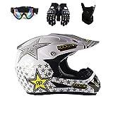 Motocross Helm Schutzbrille Handschuhe Maske Erwachsenen Motorrad ATV Off Road Helm MTB Unisex Integralhelm D.O.T Certified Rockstar,TK03,XL61~62CM
