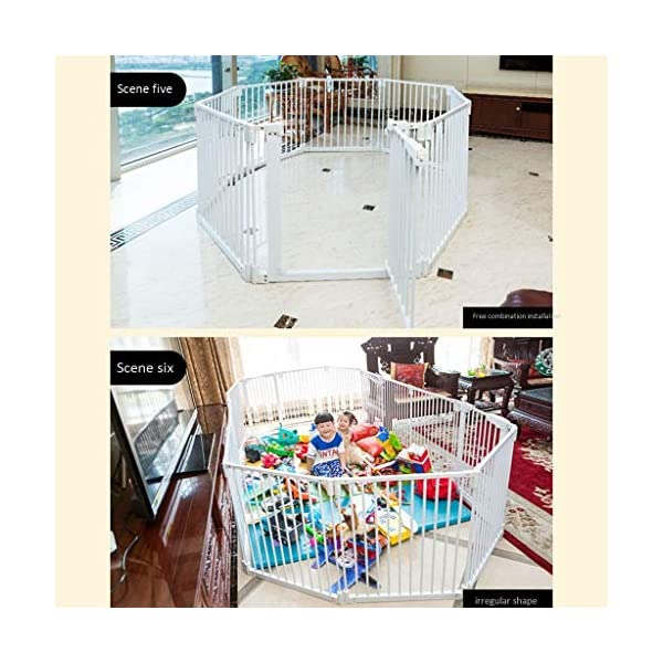 Metal Fireplace Fence Pet Playpen/Safety Gate/Safety Barrier/Stove & Fire Guard/Room Divider (Color : Height 78cm, Size : Panel 1+7) Huo ● pet playpen materials: strict selection of standard safety materials ABS plastic +Seamless steel pipe + environmental protection paint ●Automatic rebound: automatic rebound when less than 90°, normally open when greater than or equal to 90°,Open door size increased to 44cm for Easy access ● Scalable and ideal private space: The size of each piece of iron net is 64 x 78 cm. Our fence for pets allows the free installation and adaptation of the right room to your needs. It can be the private room of a pet, a playground or a delivery room to soothe the care. 8