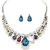 a8fce6574675 Scrox 2pcs Juego de Joyas Mujeres Plata Moda Vestido Conjunto Joyería Collar  Piedras Preciosas Colgante Brillante