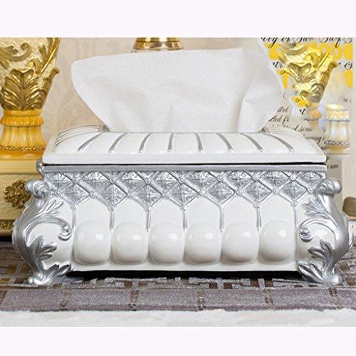 L&Y tissue box Tissue Box Resin kreativ Retro Heim Wohnzimmer Cassette Lavish Stilvolle ( Farbe : Silber ) (Keramik Tissue Box Cover)