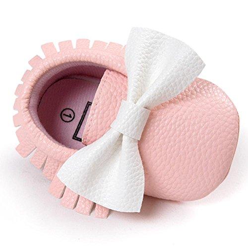 Hunpta Neue jungen Lauflernschuhe Neugeborenes Baby Junge Mädchen Baby weiche Schuhe weiche Sohlen rutschfeste Schuhe Krippe Schuh (11, Weiß) Rosa