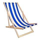 Festivalfieber Liegestuhl Strandliege Sonnenliege Buchenholz Campingstuhl (Blaue Streifen)