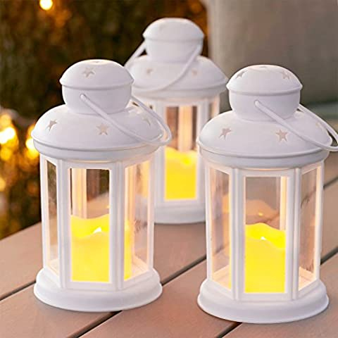 Set of 3 White Battery Operated LED Candle Lanterns for Indoor Outdoor Use by Lights4fun