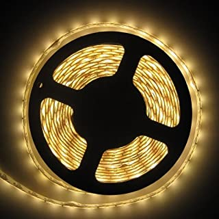 Allbuymall 16.4ft/5M SMD 3528 Wasserdichte Streifen,Warmweiß Flexible Einzelfarbe LED Stripe,LED Lichtleisten,LED Band,LED Leisten Supper Lichtleistung 300 LEDs DC 12V 60 LEDs/m