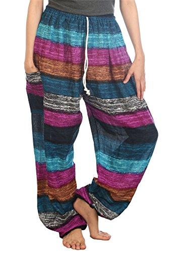 Lofbaz Pantaloni Coulisse da Donna Harem boemo bohemien Casual Aladdin Stripes Navy