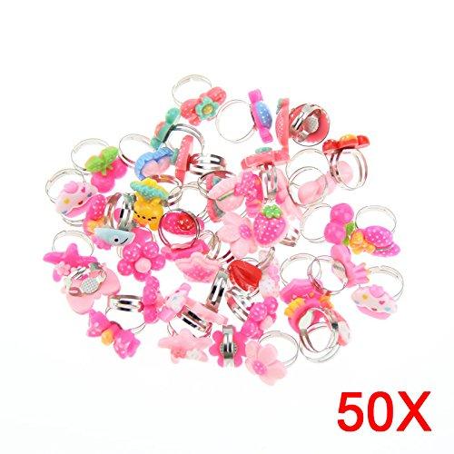Hrph 50 Piezas bulto sortea los anillos de dedo del metal cabritos de los niños muchachas de los muchachos de la historieta animal Flores mezclas de frutas