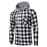 MEIbax Herren Kariertes Sweatjacke Kapuzenjacke Hoodie/Männer Langarm Gitter Gedruckt Plaid Hoodie mit Kapuze Sweatshirt Tops Bluse(Schwarz,L3)