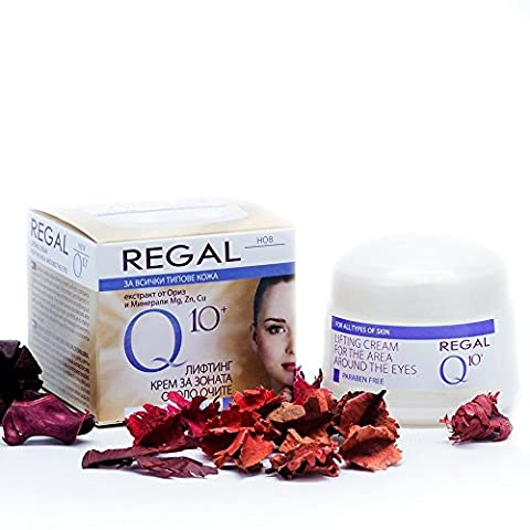 Regal LIFTING CREAM FOR THE AREA AROUND THE EYES - With Co-Enzyme Q10, Vitamins & Rice Extracts - Smoothes Lines & Wrinkles, Long-Lasting Hydration, Gently Lightens –