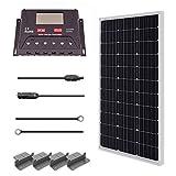 Renogy Solaranlage Solar set Solarbausatz mit 100W 12V Monokristallin Solarmodul, Solarkabeln und 12V PWM 30A Solarregler LCD-Anzeige