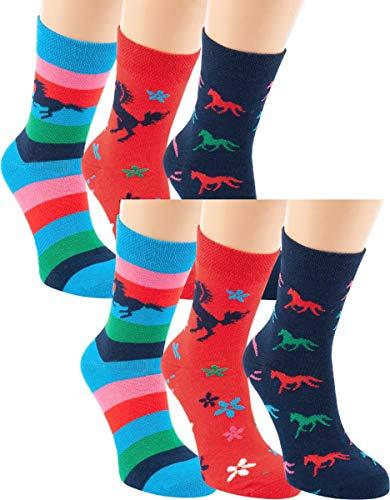 RS. Harmony | Socken und Strümpfe für Kinder | Pferde | 6 Paar | rot, streifen, marine | 35-38
