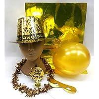 FIESTADEKOR Pack 10 Bolsas COTILLÓN Oro Metalizado 5 ARTÍCULOS Calidad Extra (Gorro Feliz AÑO). (10 Bolsas)