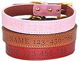 moonpet Personalisierte Hund Halsband–Individuelle Gravur ID Weiches Leder Hund Halsband–Heavy Duty verstellbar für kleine medium Große Hunde