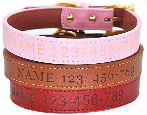 moonpet Personalisierte Hund Halsband–Individuelle Gravur ID Weiches Leder Hund Halsband–Heavy Duty verstellbar für kleine medium Große Hunde (Medium Aus Hundehalsband Leder)