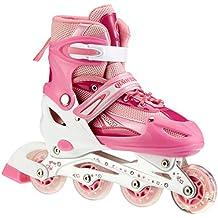 Patines en línea para niño – Rodillo delantero luminoso – Talla ajustable – Gama de tres colores, rosa, S