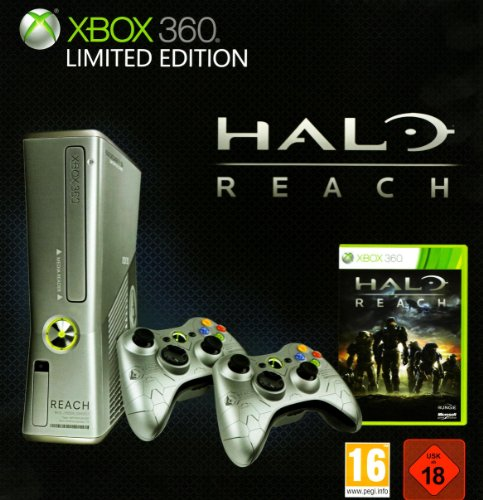 50 GB, silber - Limited Edition inkl. Halo Reach + 2 Controller [PEGI] (Xbox 360-konsole Verwendet)