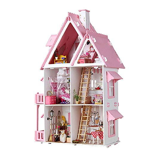Casas de muñecas de Loft rosa con luces LED,Dreamhouse & Juguete de montaje de bricolaje,423018CM...
