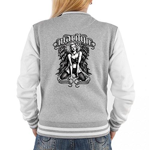 College Jacke für Damen - Schönheit mit Flügel in schwarz - Cooles Outfit oder Geschenk Idee für Marilyn Monroe Fans, (Marilyn Monroe Outfit Ideen)