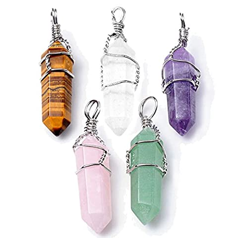 JS Direct Natural Amethyst Quartz Crystal Healing Pendants for Necklace, Pack of 5