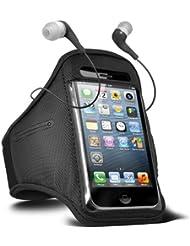 Fone-Case HTC One M7 verstellbaren Sport Fitness Jogging Arm Band Hülle & 3,5 mm In-Ear-Ohrhörer Basis Ohrhörer (schwarz)