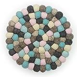 Filzkugel Untersetzer grau braun min rosaTopfuntersetzer 20 cm aus reiner Merino Wolle gefertigt …