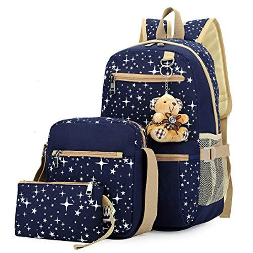 Student Rucksack vierteilige weibliche Tasche Leinwand Rucksack drucken Tasche mit großer Kapazität Rucksack (Blau,27cm*17cm*44cm) -