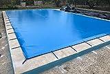 Winter Pool Abdeckung milchig für Pool 8x 4Meter PVC-Schutz Überwinterung Abdeckung mit 650gr/m2 8,60x4,60 metros Blau (außen) / Schwarz (innen)