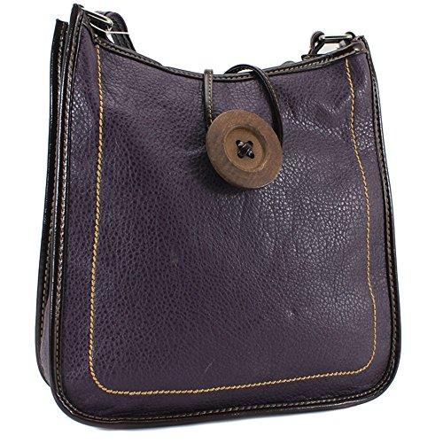 Ydezire® tracolla da donna in finta pelle con bottone, borsa da donna a tracolla (viola)
