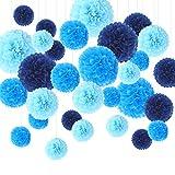 Feelshion 30er PomPoms Set, Tissue PomPon Papierblume Kit, handgefertigt Hochzeit/Partei/Feier/ Baby Shower Dekoration Blau