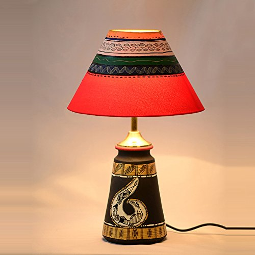 ExclusiveLane 14 Inch Terracotta Handpainted Madhubani Tappered Table Lamp In Black - Home Decorative Item Gift Items Night Lamps for Indoor Lighting  available at amazon for Rs.1699