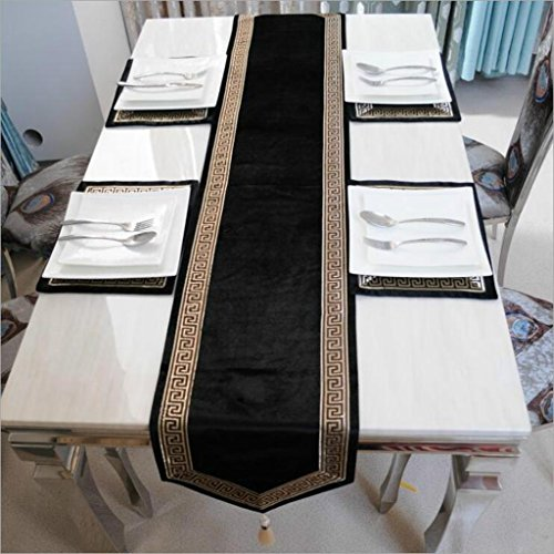 Miaoge Top europea ricamo merletto colore solido nero oro velluto table flag moda semplice 34*280cm