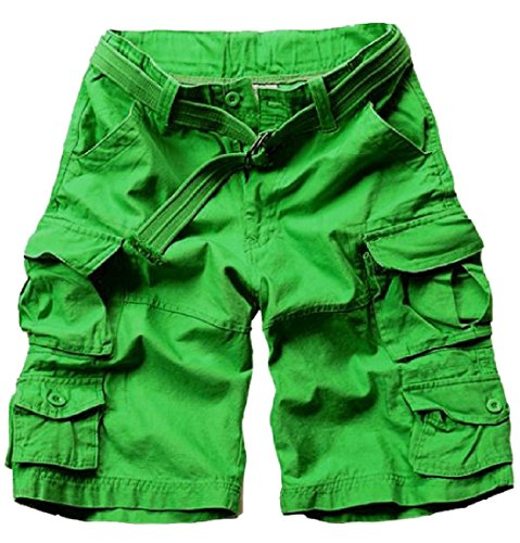 CuteRose Men's Pocket Vogue Casual Leisure Retro Classic Cargo Shorts Pants 2XL Green