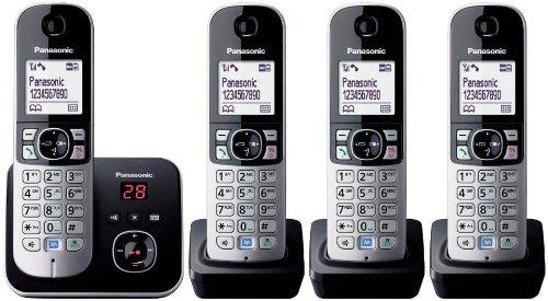 Panasonic KX-TG6824GB DECT-Schnurlostelefon mit Anrufbeantworter, GAP Telefon, Festnetz, schwarz
