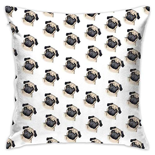 Adorable Pug Throw Pillow Cases Square Cushion Cover for Cars Sofa Bars Home Decorative 18x18 Pillowcase (Werfen Eines Baby-halloween-party)