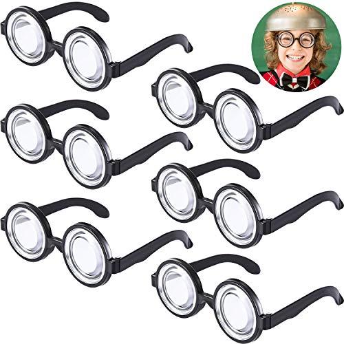 Frienda Runde Nerd Brille Zauber Kunststoff Schwarz Rahmen Nerd Brille für Kostüm Party Gefallen (6 Paare) (Schwarzes Kunststoff Kostüm Brille)