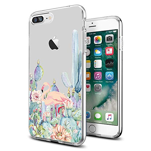 Cocomong Cute Catus Flamingo Tropical Clear iPhone Schutzhülle für iPhone 8 Plus/iPhone 7 Plus Designer für Frauen Mädchen Herren, iPhone 7p/8p, Cactus 1