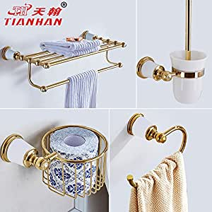 Moomqe Bathroom Accessory Easily To Mount Good Decoration Effect Continental Towel Rack Gold