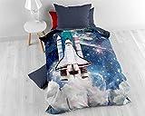 Bettwäsche Baumwolle Sleeptime Kinder Astronaut, 135cm x 200cm, Mit 1 Kissenbezüge 80cm x 80cm, Blau