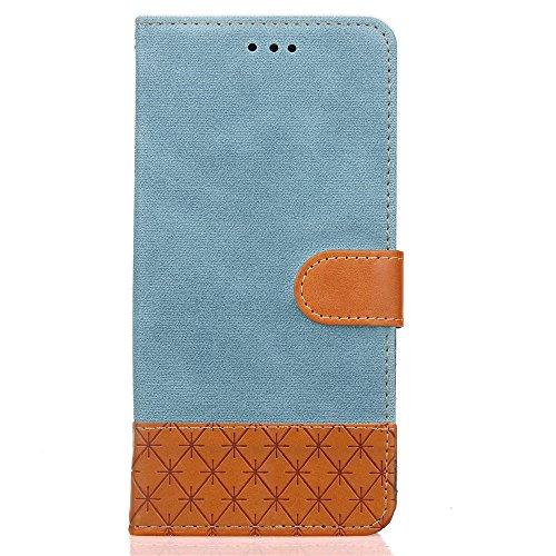 iPhone 7 (4.7 pouce) Coque , PU Cuir Étui PRougeection Wallet Housse la Haute Qualité Pochette Anti-rayures Couverture Bumper Magnétique Antichoc Case Anfire Cover pour iPhone 7 - Gris Bleu