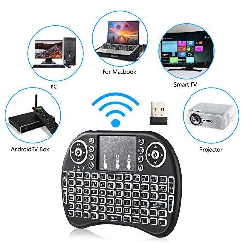 Mini drahtlose Tastatur, Wishpower 2,4Ghz mini wireless Keyboard LED Hintergrundbeleuchtung Ergonomische tastatur mit touchpad für tastatur Smart TV, Raspberry Pi 3, PC fernbedienung (weiß) - 2