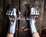 vNauticalmart Renaissance Armor Larp Steel Hourglass Functional Gauntlets Gloves - Halloween Armour Costume