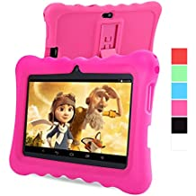 GBtiger L701 Tablet PC de 7 Pulgadas para Niños  (Android 4.4, Quad Core 1.3GHz, 512MB RAM + 8GB ROM, Resolución HD de1024 x 600, WiFi, Bluetooth), Color Negro con Funda de Silicona Rosa