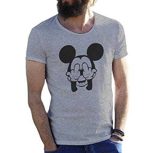 62ad6c1d11e125 Mickey Mouse Swag Trippy Disney Dope Fuck Gris T-Shirt pour Les Hommes Large