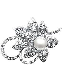 Merdia con clase de la flor broche Creado con Brillante de cristal y perlas Creado para la boda de Navidad o fiesta de graduación