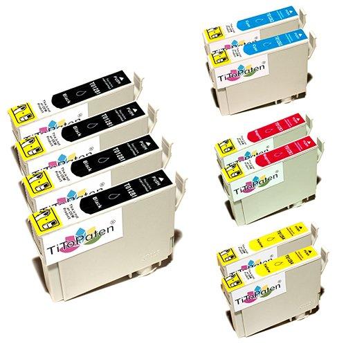 10x Epson Stylus SX 130 kompatible XL Druckerpatronen - 4xSchwarz-2xCyan-2xMagenta-2xGelb - mit chip