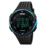 Herren Damen Mode Multifunktions Wasserdichte Sport Armbanduhr mit Countdown Timer Stoppuhr Kalender Alarm wasserdicht 50m blau