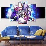 NHFGJ Imagen en Lienzo 5 Partes Paisaje Super Saiyan God de Pintura al óleo Impresión sobre Canvas Pintura Decorativa Moderna por Decoración del Hogar Salon sin Marco