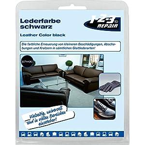 123Repair Leder-Color inkl. Schwamm und Pinsel - beseitigt Kratzer, Abschürfungen und Abnutzungen auf Leder und Kunstleder – Farbe SCHWARZ 57ml